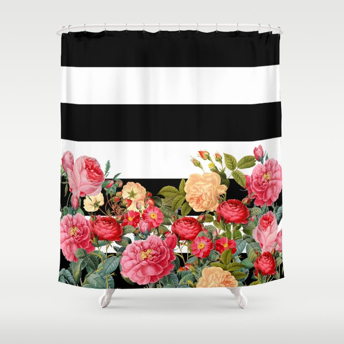 Black And White Stripe With Floral Shower Curtain By Colorandform