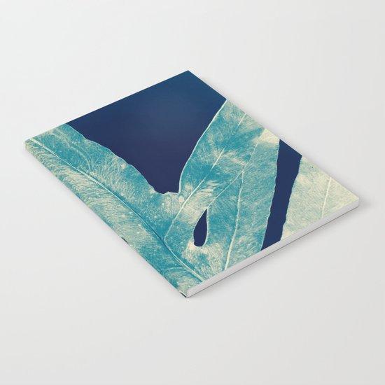 Green Fern at Midnight Bright, Navy Blue Notebook