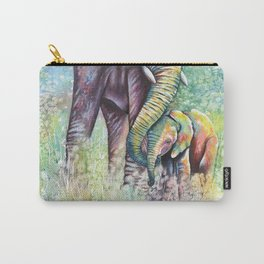 Colorful Mother Elephant and Baby Carry-All Pouch