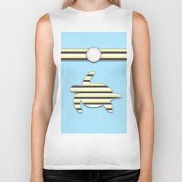 Sea Tortoise Blue and Yellow Stripe Pattern Design Biker Tank
