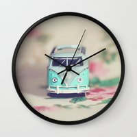 volkswagon Wall Clocks featuring Aqua VW Bus with Roses by Anna Dykema Photography