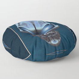 Skull with glowing blue eyes Floor Pillow