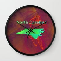 north carolina Wall Clocks featuring North Carolina Map by Roger Wedegis