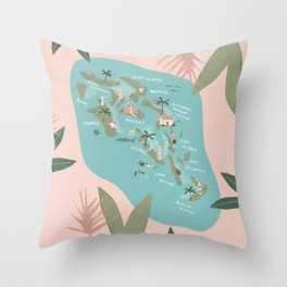 Bahamas Illustrated Map Throw Pillow