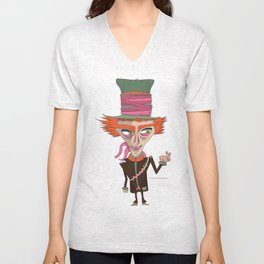 The Mad Hatter in Alice in Wonderland Illustration Unisex V-Neck