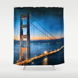 Golden Gate Ghost Bridge Shower Curtain