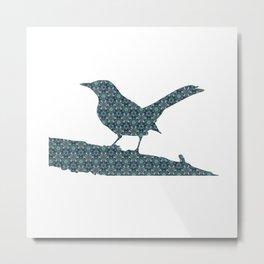 Grey Jay Spruce Tree patterned Metal Print