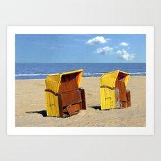 Two yellow beach cabanas Art Print