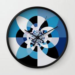 Dual Poles Blue Kaleidoscope Mandala Wall Clock