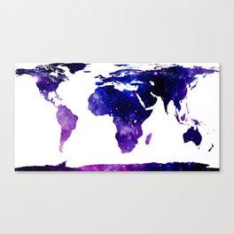 World Map Purple Blue Galaxy Canvas Print
