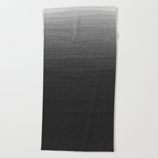 Black and White Ink Gradient Beach Towel
