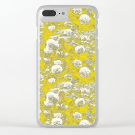 Grey and Yellow Rose Garden Clear iPhone Case