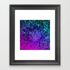REACH FOR THE STARS Bold Midnight Blue Purple, Galactic Stars Space Abstract Fine Art Painting Framed Art Print