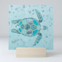 Glamour Aqua Turquoise Turtle Underwater Scenery Mini Art Print