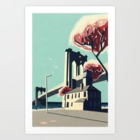 A pretty day at the brooklyn bridge Art Print