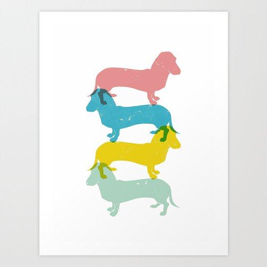 Four dachshund wall art print Art Print