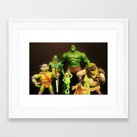 shrek Framed Art Prints featuring It Aint Easy Being Green by Beastie Toyz
