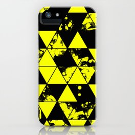 Splatter Triangles In Black And Yellow iPhone Case
