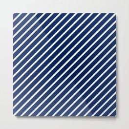 Navy Tight Stripes Metal Print