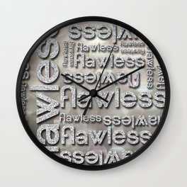 Flawless Silver Glitter Repeated Typography Wall Clock