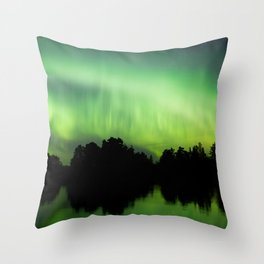 Northern lights glowing over lake Throw Pillow