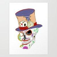 steam punk Art Prints featuring Steam Punk Sugar Skull by J&C Creations
