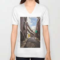 seoul V-neck T-shirts featuring Freedom Village, Seoul by Clayton Jones