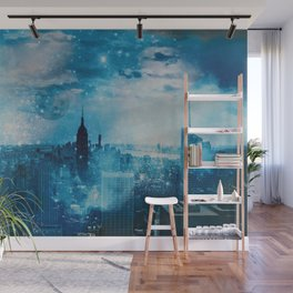 New York City Blue Night Moon Mixed Media Art Wall Mural
