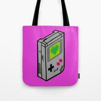 gameboy Tote Bags featuring Gameboy Love by Artistic Dyslexia