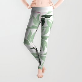 Abstract modern green pastel color leaves floral Leggings