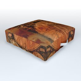 Rustic Old World Map Outdoor Floor Cushion