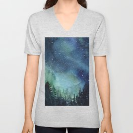 Galaxy Watercolor Aurora Borealis Painting Unisex V-Neck