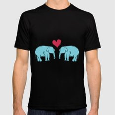 Elephant Love LARGE Black Mens Fitted Tee