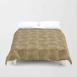 Golden glamour metal swirly surface Duvet Cover