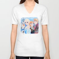 frozen V-neck T-shirts featuring Frozen by enerjax