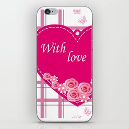 pink heart with roses iPhone Skin