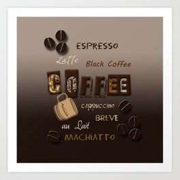 Ombre Coffee Beans and Brews Word Art Art Print