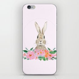 rabbit and pink camellia flower iPhone Skin