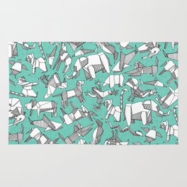 origami animal ditsy mint Rug