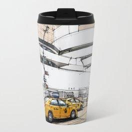 Guggenheim New York, umbrellas and yellow cabs. Sketch Travel Mug