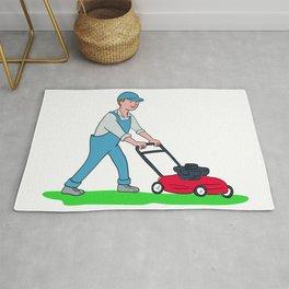 Gardener Mowing Lawn Cartoon Rug
