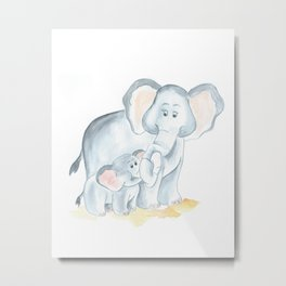 elephants watercolor painting, baby elephant with mom Metal Print