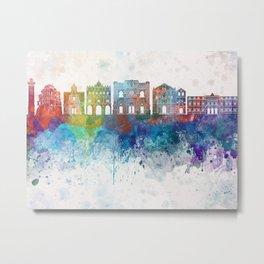 Cuenca skyline in watercolor background Metal Print