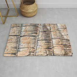Palm Tree Razor Cuts // Close Up Tan and Natural Wood Texture Rug