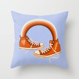 Red Sneakers and Rainbow Throw Pillow