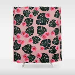 Tropical pattern n.1 - pink Shower Curtain