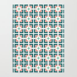 TRELLIS, TEAL AND CORAL Poster