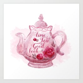 Time for tea and a good book Art Print