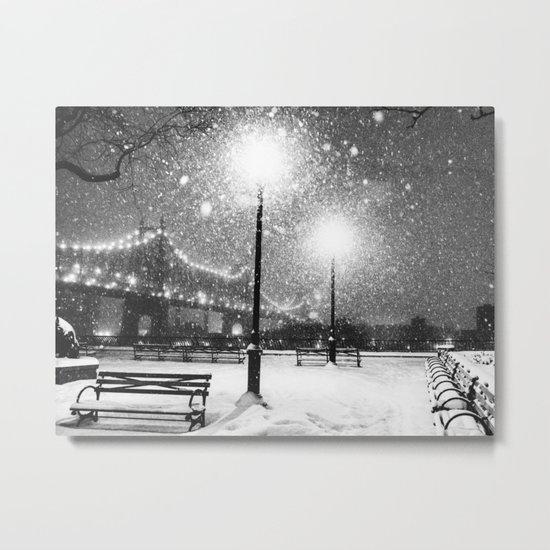 New York City Night Snow Metal Print