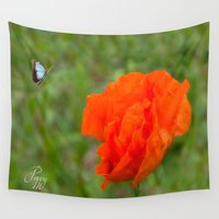 poppy Wall Tapestries featuring Poppy by Fine Art by Rina